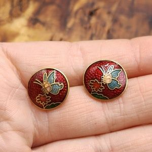 NWT Vintage cloisonne butterfly red enamel Asian